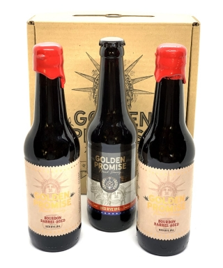 PACK DE 3 BOTELLAS DE CERVEZA GOLDEN PROMISE BOURBON EDITION LIMITADA 33cl